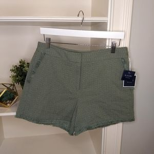 KAARI blue Shorts 10 Green Boho Fringe Tweed